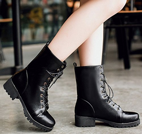 Easemax Women's Retro Lace Up Round Toe Mid Chunky Heeled Ankle High Martin Boots Black zbRlH