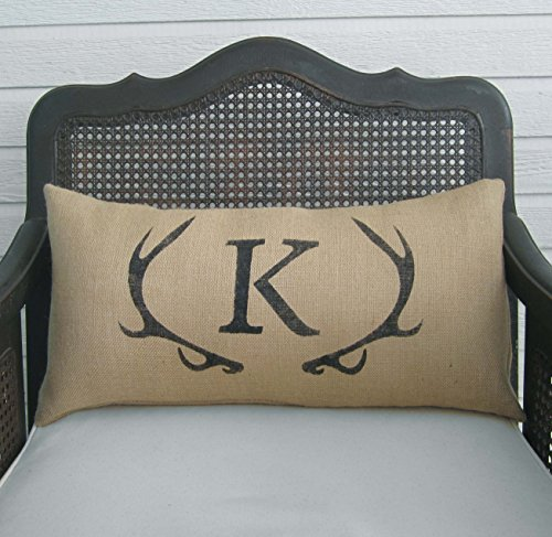 Deer Antler with Monogram Lumbar Burlap Pillow - 12x24 - Insert Included - Personalized Initial Letter Pillow
