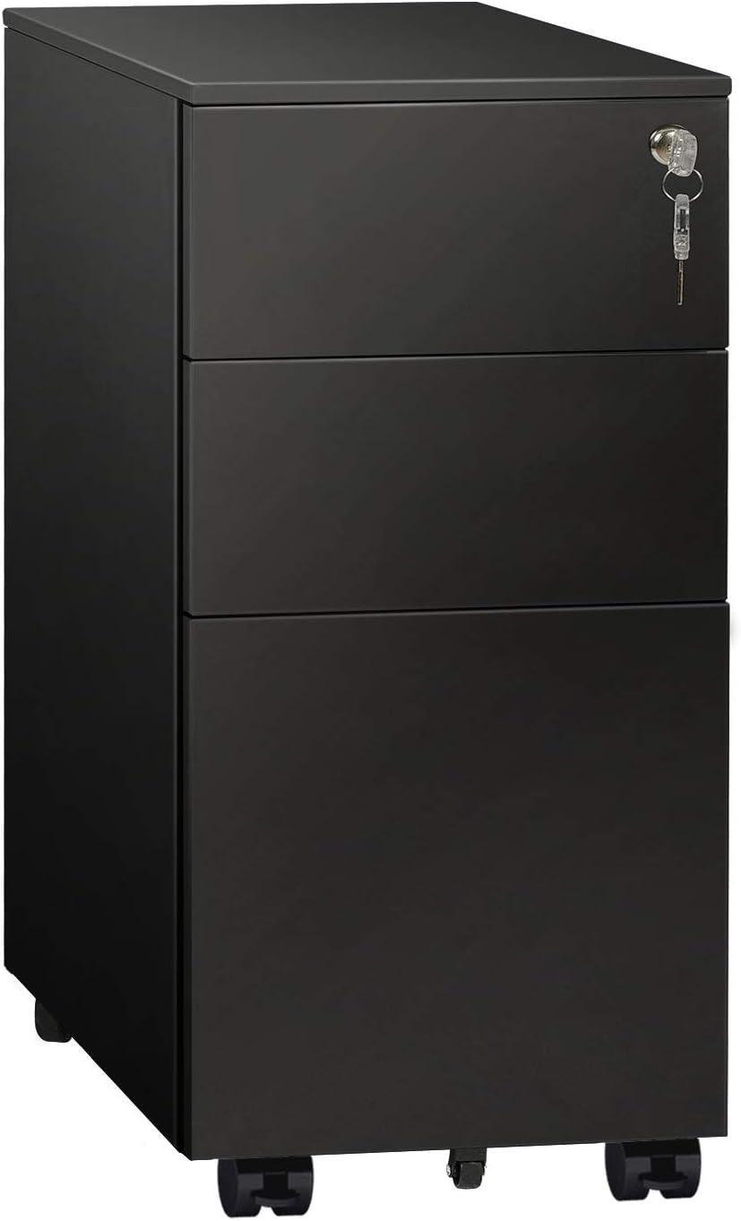 Lock Large ERIK A4 File Metal Cabinet,Black Colour,3 Drawers,Filing Cabinet