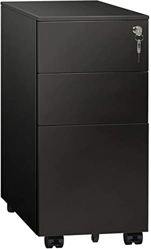 DEVAISE 3 Drawer Mobile File Cabinet with Lock, Narrow Metal Filing Cabinet for Legal Letter A4 Size, Fully Assembled Except Wheels, Black