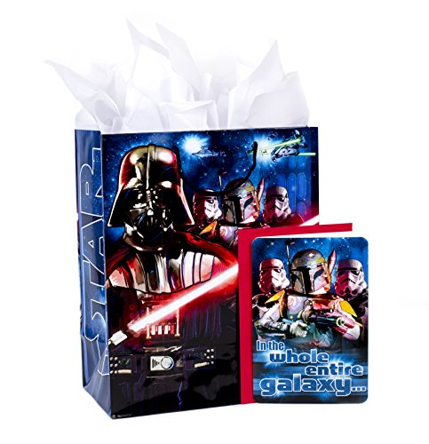 Hallmark Large Birthday Gift Bag with Card and Tissue Paper (Star Wars Classic) (Birthday Star Wars)