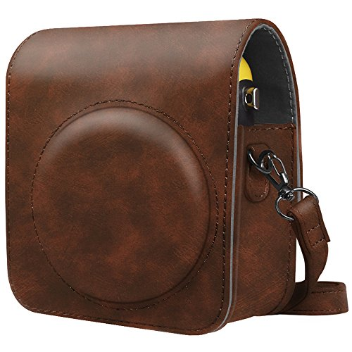 Fintie Protective Case for Fujifilm Instax Mini 70 - Premium Vegan Leather Bag Cover for Fujifilm Instax Mini 70 Instant Film Camera with Removable/Adjustable Strap, Vintage Brown