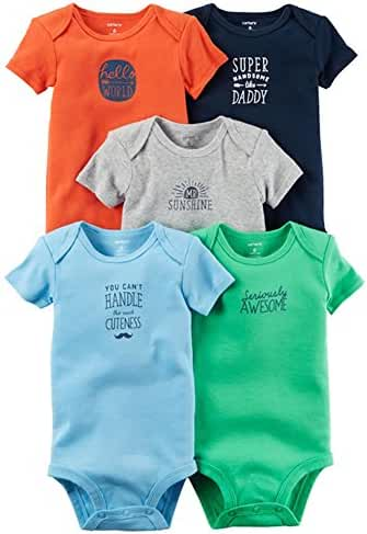 Carters Baby Boys 5 Pack Bodysuits (Baby) (6 Months, Bright Slogan Mix)