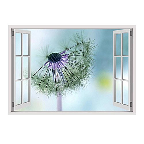 Alonline Art - Dandelion by Fake 3D Window | framed stretched canvas on a ready to hang frame - 100% cotton - gallery wrapped | 28