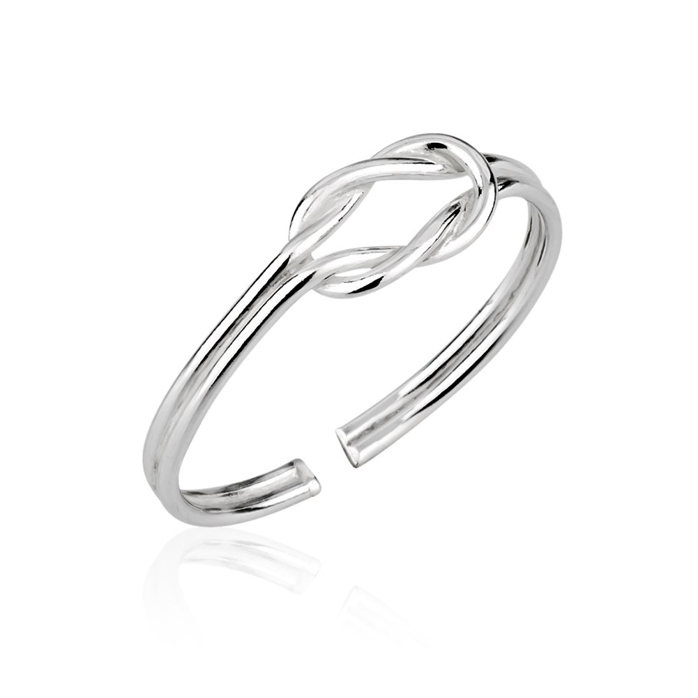 Chuvora 925 Sterling Silver Modern Infinity Promise Knot Thin Open Ended Band Toe Ring, 5mm