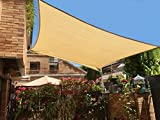 SUNNY GUARD 8' x 12' Sand Rectangle Sun Shade Sail UV Block for Outdoor Patio Garden
