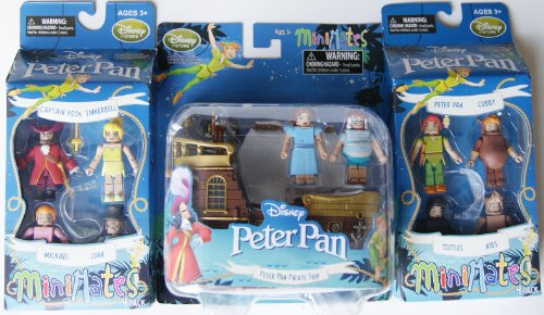 (Disney MiniMates Peter Pan Jolly Roger Pirate Ship Playset Figurine Wendy, Mr Smee, Peter, Cubby, Tootles, Nibs, Captain Hook, Tinkerbell, John, and)