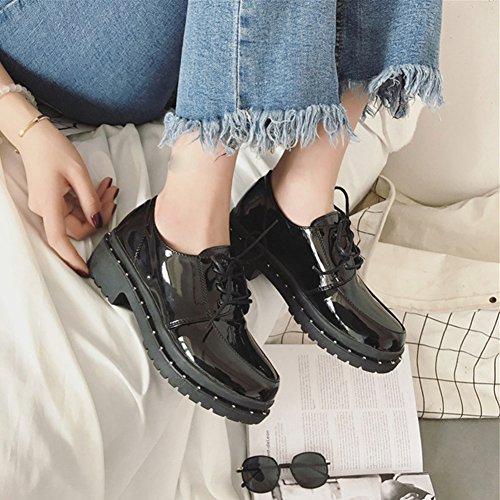 T-juli Kvinnor Mode Oxfords Skor - Bekväma Lace-up Låg Häl Rund Tå Glansiga Fritidsskor