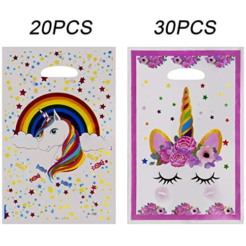 SAVITA 30-Pack Unicorn Gift Bags Treat Bags for Birthday/Baby Shower/Party Favors, 2 Styles