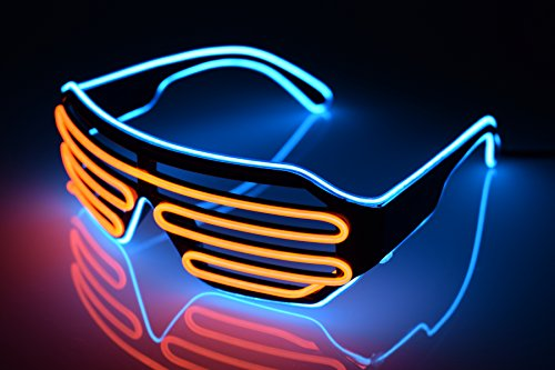 El Wire Neon LED Glasses, Two Colors EL Light Up Shutter Glasses with Battery case Controller for DJ Music Party for Rave Costume Party, Halloween & Christmas Gifts (Blue-Orange) -