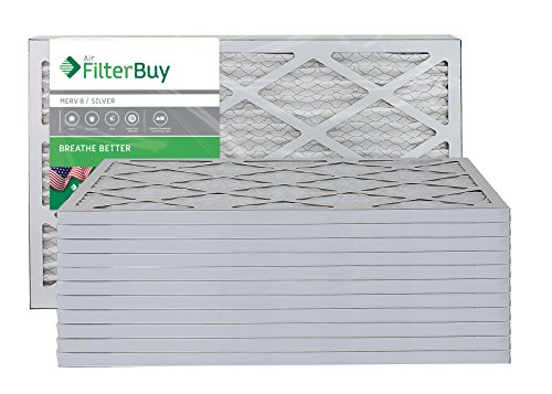 FilterBuy 16x25x1 MERV 8 Pleated AC Furnace Air Filter, (Pack of 12 Filters), 16x25x1 – Silver