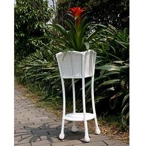 Wicker lane ori001 b white wicker patio furniture planter for Patio furniture covers amazon ca