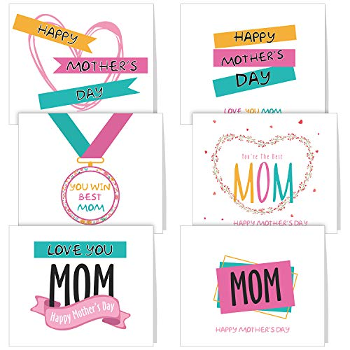 - TUPARKA 36 PCS Mother's Day Greeting Cards with Envelopes,6 Assorted Unique Designs for Mother's Day