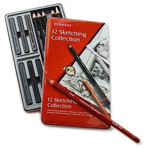 Derwent Sketching Pencil Collections (Tin Of 12) *** Product Description: Derwent Sketching Pencil Collections- Description: Tin Of 12Assortments Of Derwent Sketching Pencils, Charcoal Pencils, Pastel Pencils, Drawing Pencils, Graphite Blocks, An ***