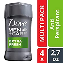 Dove Men+Care Antiperspirant Deodorant Stick, Extra Fresh, 2.7 oz, 4 count ( Packaging may vary )