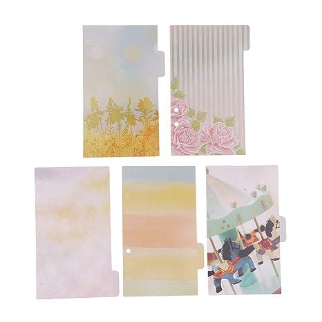 P PRETTYIA 5 pcs Papel con Pestañas Material de Papelería DIY Bricolaje Manualidades Arte - colores