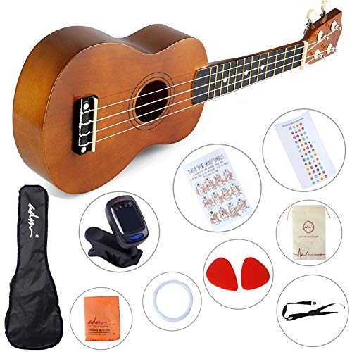 ADM Kid Ukulele Soprano Hawaiian 21 Inch Uke Beginner Pack with Gig Bag, Tuner, Strap, Picks, Fingerboard Sticker and Chord Card, Mocha ()