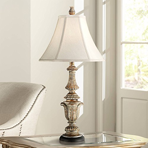 Traditional Table Lamp Gold Wash Candlestick Off White Bell Shade for Living Room Family Bedroom Bedside Nightstand - Regency - Fluted Lamp Floor Shade