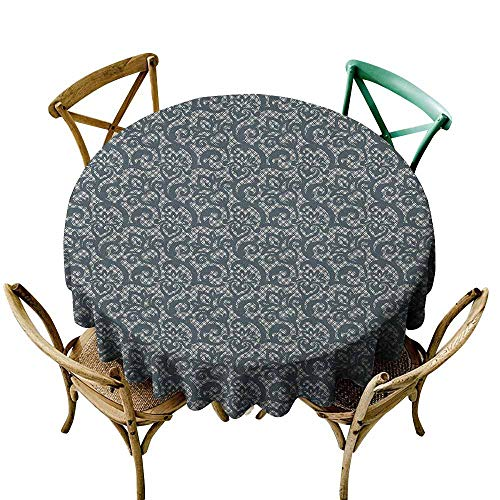 Sunnyhome Stain Resistant Round Tablecloth Teal Lace Style Abstract Floral Ornament with Victorian Inspirations Vintage Illustration Teal Beige Table Cover for Home Restaurant 47 INCH
