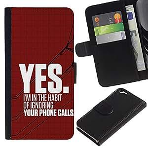 Ignorar Heartbreak rojo enojado texto- la tarjeta de Crédito Slots PU Funda de cuero Monedero caso cubierta de piel Para Apple (4.7 inches!!!) iPhone 6 / 6S