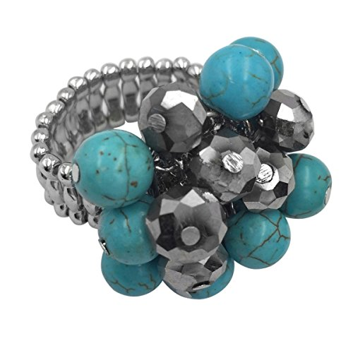 Large Cluster Abstract Statement Big Stretch Cocktail Ring (Imitation Turquoise & Glass Beads Silver Tone)