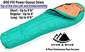 Hyke & Byke Eolus 800 Saco de Dormir de Plumón Ultraligero Momia -10ºC y -15ºC - Saco de Dormir Adulto con Base ClusterLoft - Camping Accesorios Bajas Temperaturas para Senderismo y Camping: