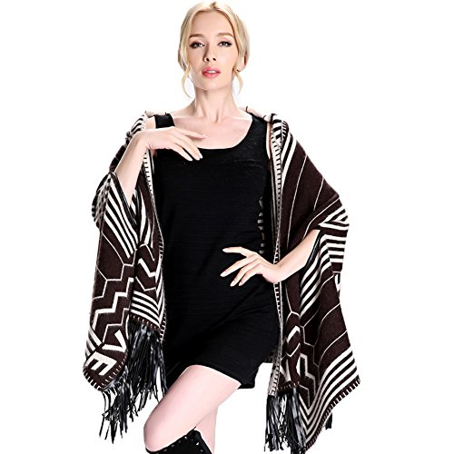 Spring Womens Fashion Cashmere Large Shawls and Wraps Both Sides Can Wear Gifts for Valentine's Day Black Coffee