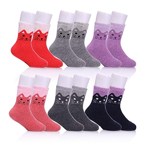 Children s Winter Warm Wool Socks Kids Boys Girls Animal Socks 6 Pairs (6  Pairs Cat 450f34ae3cac