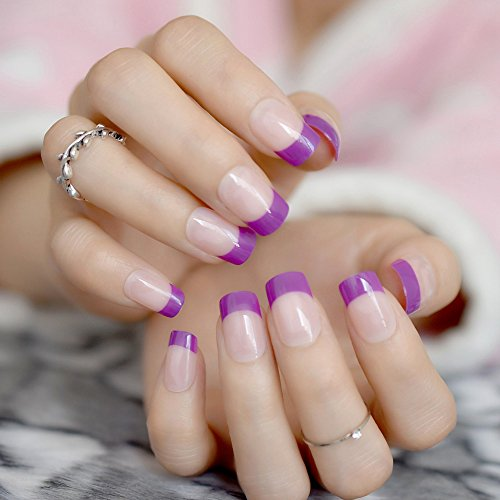 Amazon.com : CoolNail Purple French False Nails Tips Acrylic Nude Natural Pink UV Fake Nails DIY Press on Manicure Salon Stickers Artificial Nail Tip : ...