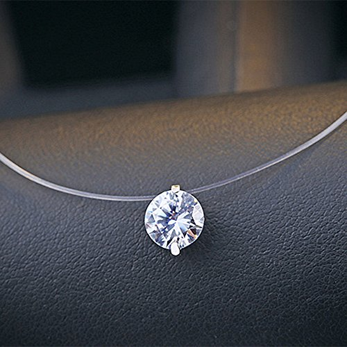 LOCHING 925 Silver One Pearl Zircon Solitaire Choker Invisible Fishing Line Necklace (Zircon) by LOCHING (Image #4)