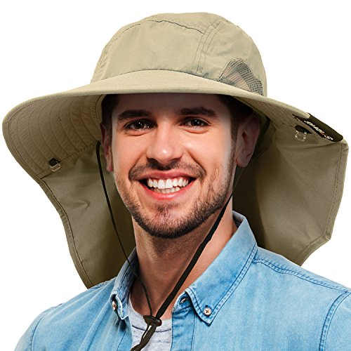 Tirrinia Mens Wide Brim Sun Hat with Neck Flap Fishing Safari Cap for Outdoor Hiking Camping Gardening Lawn Field Work, Olive -