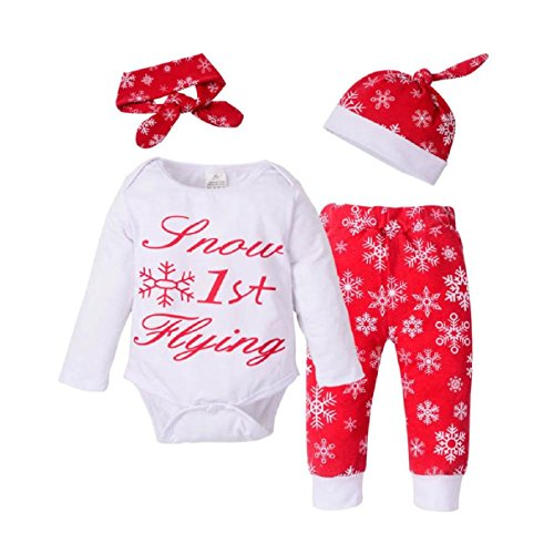 Baby Clothes Set, PPBUY Newborn Girls Boys Christmas Outfits Romper + Pants + Hat + Headband Set - $75 000 Sunglasses