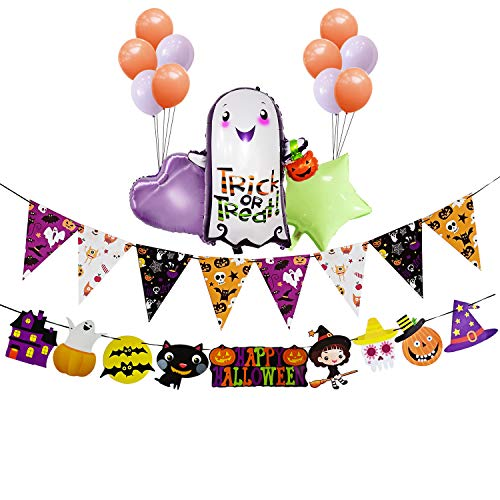 Halloween Banners and Aluminum Foil Balloons of A Little Ghost with Lantern,2018 Halloween Party Decoration Kit Triangle Banner Flag and Colorful Balloons