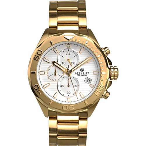 Mens Accurist London Silver Chronograph Dial Gold Stainless Steel Strap Watch 7181