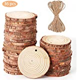 """Natural Wood Slices,2.4""""-2.7"""" Unfinished Predrilled Blank Wood Circleswith Tree Bark Log Discs and 33Ft Jute Twine for DIY Craft Christmas Easter Party Rustic Wedding Ornaments (36pcs)"""