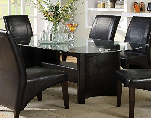 Madison Dining Table w/Glass Top in Espresso by Furniture of America