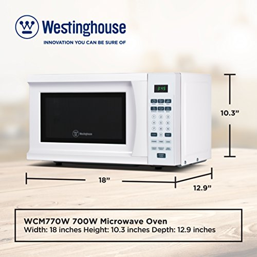 Westinghouse WCM770W 700 Watt Counter Top Microwave Oven, 0.7 Cubic Feet, White Cabinet by Westinghouse (Image #6)