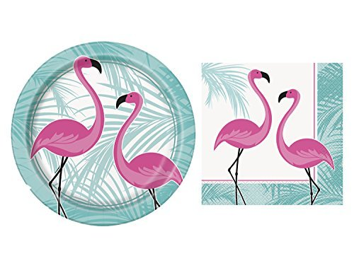 JJ Collections Pink Flamingo Party Place Setting for 16 Plate & Napkins