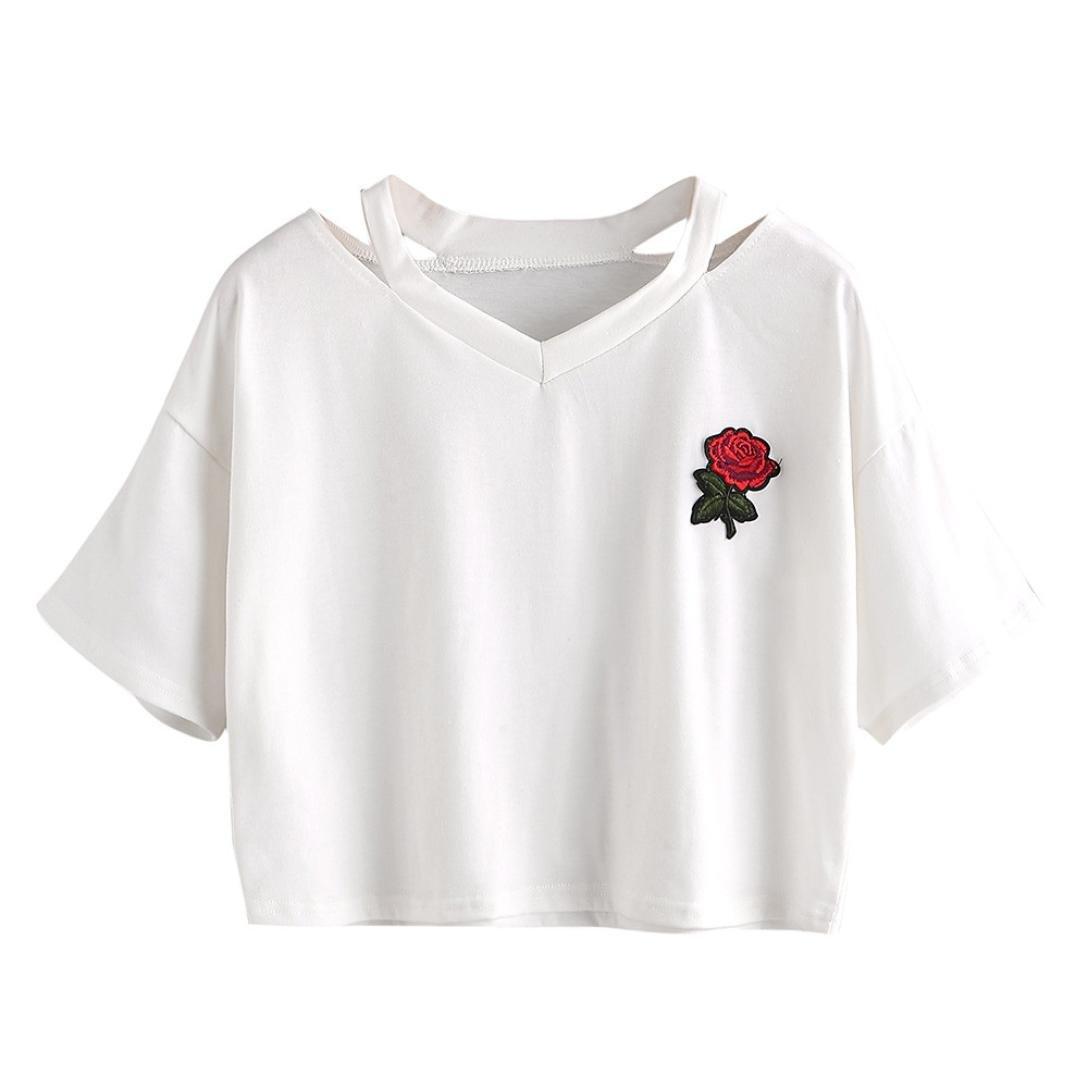 Amlaiworld_ Blusa sexy mujer Rosa Manga Corta Casual Camiseta Mezcla ...