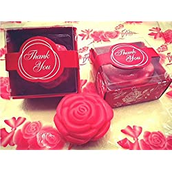 AI·X·IANG Cute Mini 24 Pieces Handmade Scented Soap Guests Keepsake Gift for Wedding Favors Gift, Parties, Thanksgiving Gifts (Red Rose Style)