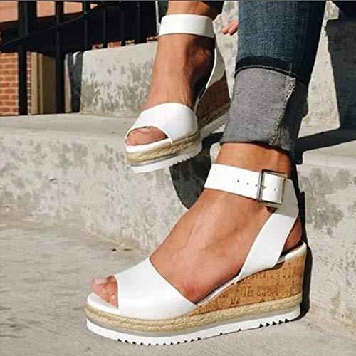 Wedge Sandals for Women Wide,2020 Fashion Wedge Ankle Buckle Sandals Summer Beach Sandals Open Toe Espadrille Platform