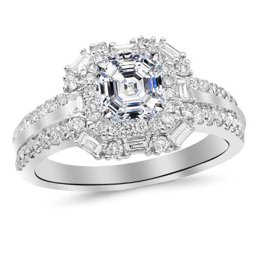 White Gold Designer Twisting Eternity Channel Set Four Prong Diamond Engagement Ring with a 0.74 Carat Asscher Cut D Color VS1 Clarity Center Stone - Asscher Cut Diamond Engagement Ring