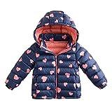 marc janie Little Boys Girls' Winter Pattern Printing Ultra Light Weight Down Jacket Blue Pink Love 3T (90 cm)