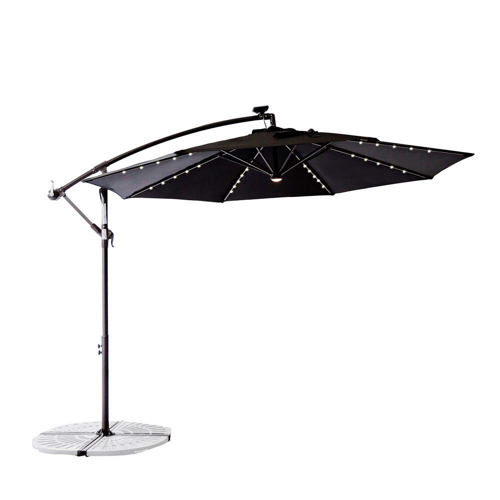 C-Hopetree 10' Offset Cantilever Sun Shade Umbrella Rechargeable LED Crank Winder Large Round Black