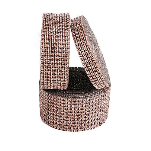 USIX 3/4/6/8/10/12 Rows Artificial Sparkling Glitter Rhinestone Diamond Mesh Ribbon Webbing Wrap for DIY Arts Craft Sewing Wedding Bouquet Cake Birthday Party Decor(Champagne,12 Rows-6cm/2.36