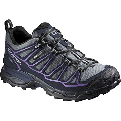 Salomon Women's X Ultra Prime CS Waterproof W Hiking Shoe, Pearl Grey/Deep Blue/Rain Purple, 9 B US by Salomon