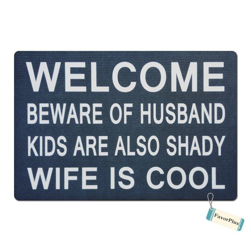 FavorPlus Welcome Beware Of Husband Kids Are Also Shady Wife Is Cool Funny Entrance Custom Doormat Door Mat Machine Washable Rug Non Slip Mats Bathroom Kitchen Decor Area Rug 15.7X23.6 Inch