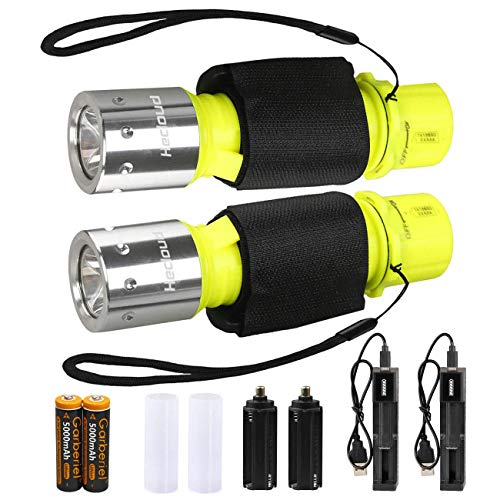 HeCloud 2 Pack LED XM-T6 Professional Diving Flashlight with Battery Charger, Bright LED Submarine Light Scuba Safety Lights Waterproof Underwater Torch for Outdoor Under Water Sports (Yellow) ()