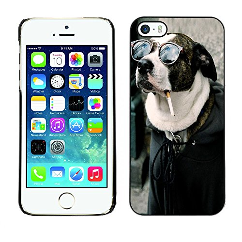 Omega Case PC Polycarbonate Cas Coque Drapeau - Apple iPhone 5 / 5S ( Cool Funny Badass Smoking Hipster Dog )