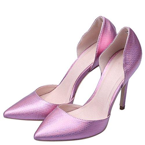 fereshte Women's Animal Print Closed Toe Slip On D-orsay Shoes Lizard Purple iMygkDq6b